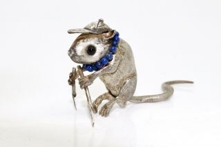 An Awesome Unusual Vintage Sterling Silver Cast Mouse Rower Ornament 15061