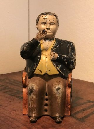 Antique Cast Iron Mechanical Bank J & E Stevens Tammany Bank 1873 Nr