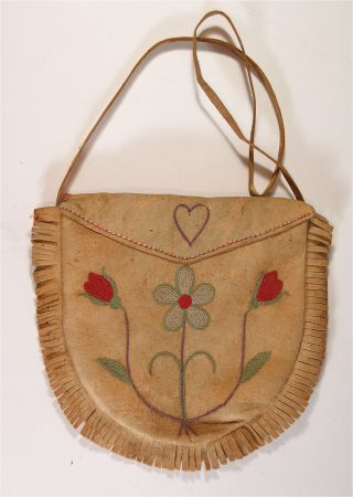Ca1900 Native American Metis / Cree Indian Embroidery Decorated Moose Hide Bag