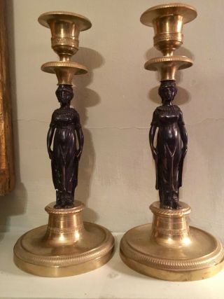 Pair Antique French Empire Bronze Candlesticks Candelabra Caryatids Bourgeoirs