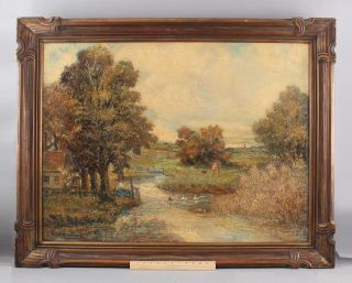 Antique Frank Nankivell American Impressionist Country Landscape Oil Painting