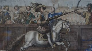 Louis Xiv 18th Century French Engraving Of Horse Training Antique History