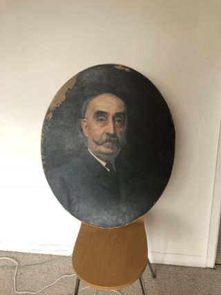 Large Antique Victorian Oval Oil Painting Portrait Of Noble Man With Moustache