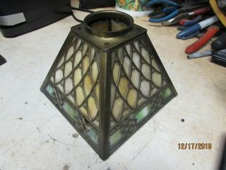 Antique Arts & Crafts Slag Glass Light Lamp Shade Marked Handel Pairpoint