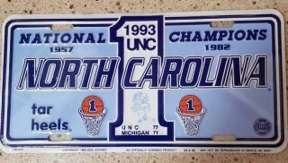 Unc North Carolina Tar Heels Basketball National Champions 1993 License Plate