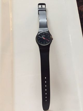 Rare Vintage Swatch Watch Black With Pink Second Hand