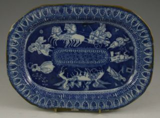 Antique Pottery Pearlware Blue Transfer Greek Pattern Small Dish 1810 Not Spode
