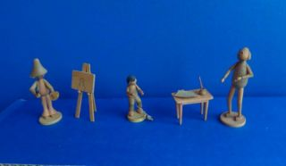 Vintage Group Of Erzgebirge Miniature Wood People Figures - German - Dollhouse?