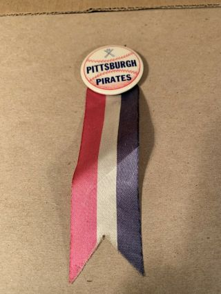 Patriotic Pittsburgh Pirates Pinback Button W/ Red White And Blue Ribbon Vintage