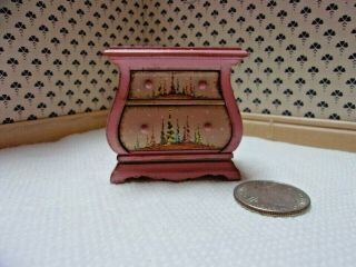 1:12 Scale Artisan Vintage Hand Painted Bombe Chest By Igma Karen Markland
