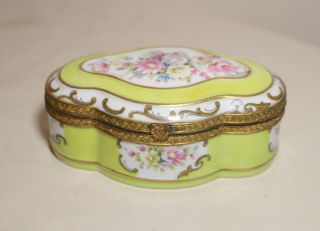 Antique Hand Painted Porcelain Gilt Bronze Italian Dresser Casket Box Gabrielli