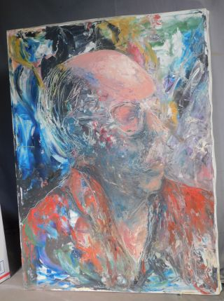 Vintage Modern Oil Painting Artist Self Portrait Semi Abstract Brutalist