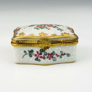 Vintage Limoges Paris Porcelain - Hand Painted & Gilded Pill Or Trinket Box