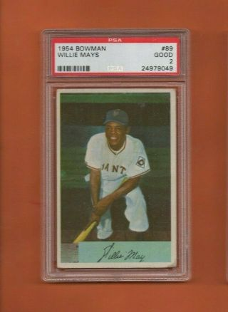 Willie Mays 89 1954 Bowman Baseball Card - Graded Psa 2 - Front/back Scans