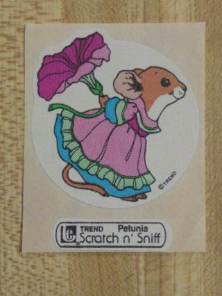 Vintage 80s Large Trend Mouse Petunia Scratch - And - Sniff Sticker