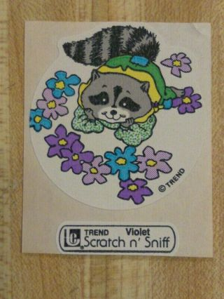 Vintage 80s Large Trend Raccoon Violet Scratch - And - Sniff Sticker