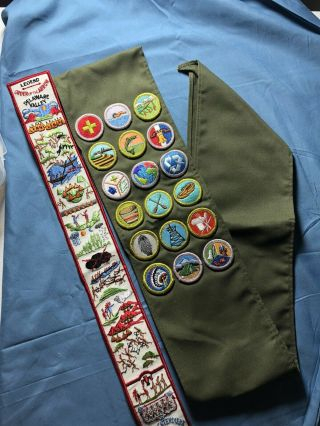 Vtg Bsa Boy Scouts Sash With 18 Patches And Order Of The Arrow Patch