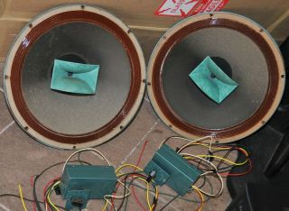 """Pair Altec 602c Duplex Coaxial 15 """" With Horn Tweeters And Crossovers Rare"""