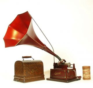 Minty 1910 Edison Red Gem W/orig.  Horn 2 & 4 Minute Phonograph Plays Great