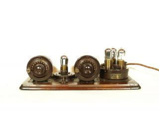 1924 Atwater Kent Model 9 Breadboard Radio With Good Brass Base Tipped Tubes