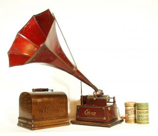 1910 Edison Red Gem W/original Horn 2 & 4 Minute Phonograph Plays Perfectly