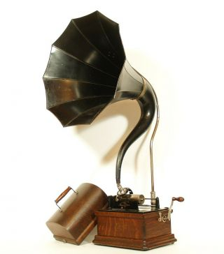 Minty,  All - 1910 Edison Fireside Phonograph W/cygnet Horn 2/4 Minute