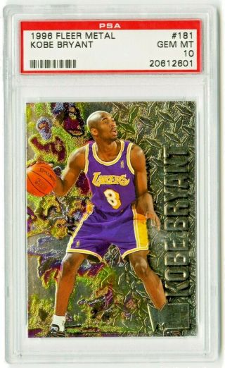 1996 - 97 Kobe Bryant Fleer Metal Rookie Rc 181 Lakers Psa 10 Gem Hof Mamba