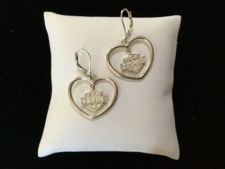 Harley Davidson Sterling Heart With Crystal Bar And Shield Drop Earrings