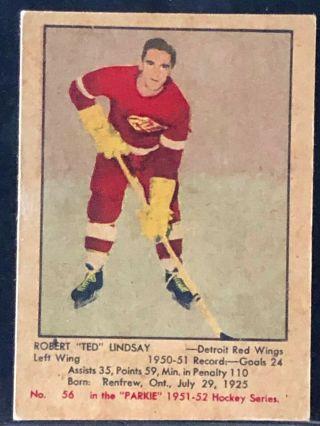 1951 - 52 Ted Lindsay 56 Rookie Detroit Red Wings Parkhurst Hockey Card