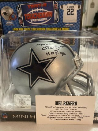 Dallas Cowboys Mel Renfro Signed Auto