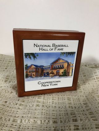 Cooperstown Ny Baseball Hall Of Fame Wood Hinged Trinket Box Tile Top Lined