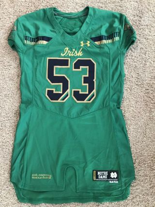 Notre Dame Football Under Armour 2015 Shamrock Series Team Issued Jersey 53 Nd
