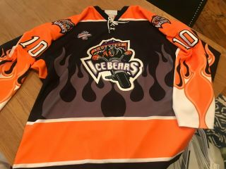Knoxville Ice Bears Mike Tuomi Game Worn Sphl Pro Hockey Jersey Mens 52