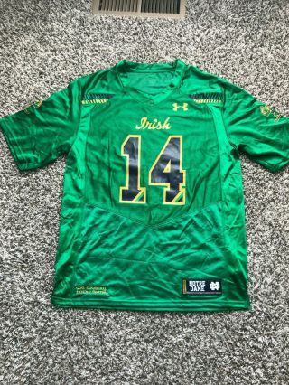 Nwt - Notre Dame 2015 Shamrock Series Boston Sideline Under Armour Jersey 14
