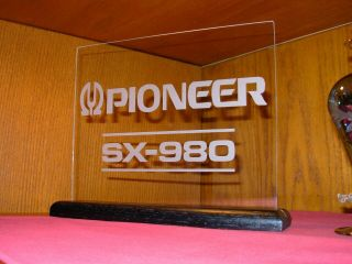 Pioneer Sx - 980 Etched Glass Sign W/base