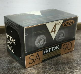 4 Tdk Sa90 Blank Cassette Tapes High Bias Type Ii Gold Best For Cd Nos