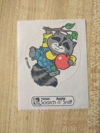 Vintage 80s Large Trend Raccoon Apple Scratch - And - Sniff Sticker