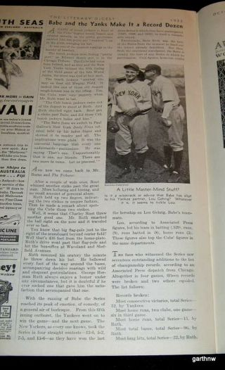 York Yankees 1932 World Series Babe Ruth,  Cubs Called Shot Feature Gehrig
