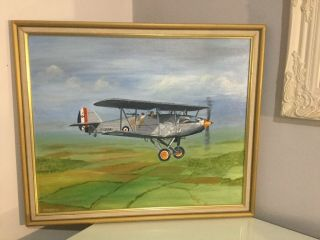 Vintage Raf Hawker Hart 57 Squadron Plane Oil Painting.  Framed And Signed