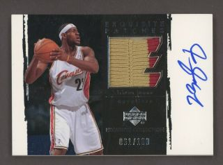 "2003 - 04 Ud Exquisite Lebron James Rc Rookie Game Patch Auto 61/100 "" Rare """