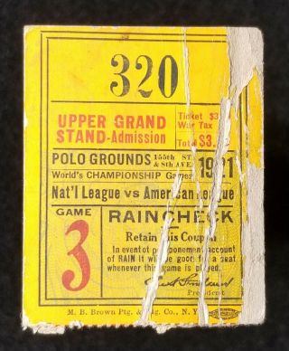 1921 World Series Game 3 Ticket Babe Ruth York Giants Vs Yankees Polo Ground