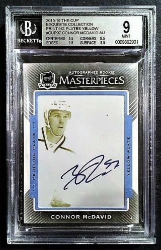 2015 - 16 Ud The Cup Connor Mcdavid Masterpiece Ex97 Rookie Auto Rc 1/1 Bgs 9/10