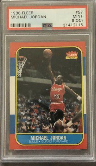 1986 Fleer 57 Michael Jordan Rc Rookie Psa 9 Oc Sharp Corners Psa Holder