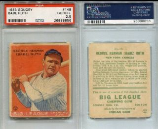 1933 Goudey Babe Ruth 149 Red Psa 2.  5 Great Color Legendary Card