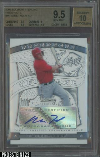 "2009 Bowman Sterling Mt Mike Trout Angels Rc Rookie Bgs 9.  5 "" Hot Card """