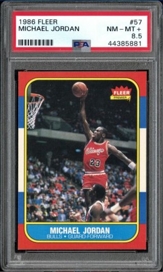 1986 Fleer 57 Michael Jordan Rc Rookie Psa 8.  5 Near -