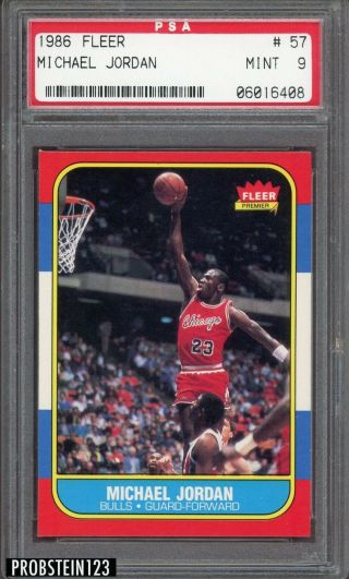 "1986 Fleer 57 Michael Jordan Rc Rookie Pack Fresh Psa 9 "" Sharp Corners """