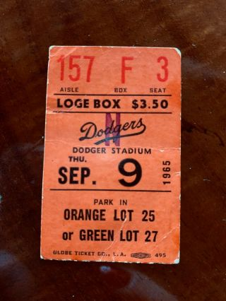 Sandy Koufax Perfect Game Ticket Sept.  9,  1965
