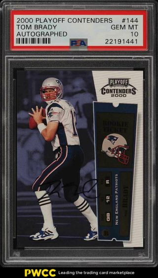 2000 Playoff Contenders Tom Brady Rookie Rc Auto 144 Psa 10 Gem (pwcc)