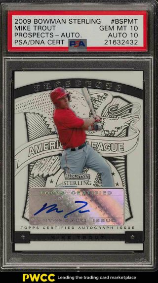 2009 Bowman Sterling Prospects Mike Trout Rookie Psa/dna 10 Auto Psa 10 (pwcc)